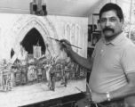 John Flores painting in a South Western style